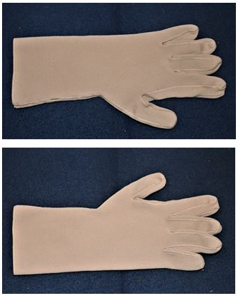 Figure 1. Compression gloves are made flat, ie with the thumb in the same plane as the rest of the palm.